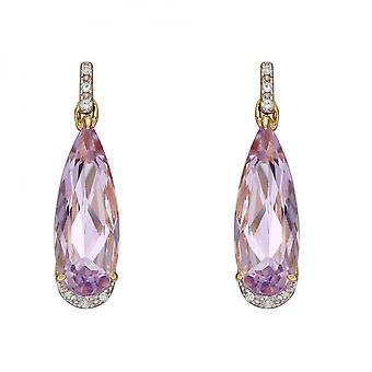 Elements Gold Elongated Pink Amethyst Teardrop Diamonds Yellow Gold Earrings GE2386M