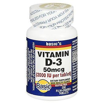 الفيتامينات الأساسية الأساسية فيتامين د-3 الطبيعية, 2000 وحدة IU, 200 علامات التبويب