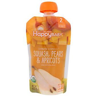 Glücklich Baby Beutel Sqsh Birnen Aprikosen, Fall von 16 X 4 Oz