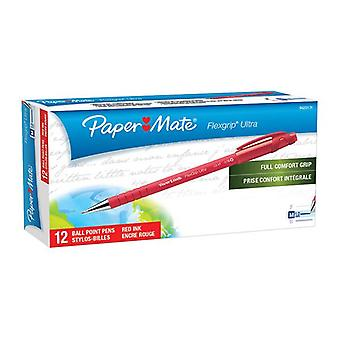 Papermate Flex Grip Rt Ballpen Red Box Of 12