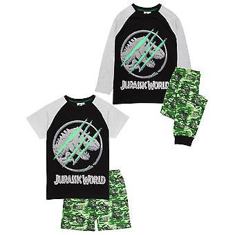 Jurassic World Pijamale pentru baieti | Copii Camo T Shirt cu pantaloni scurți sau pantaloni PJs dinozaur | Marfă film