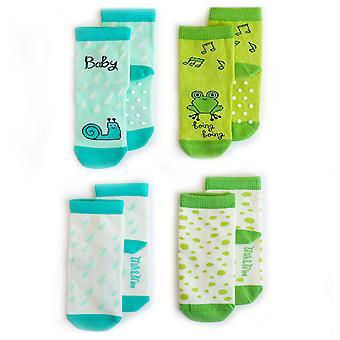 Milk&Moo Cacha Frog and Sangaloz 4 Piece Baby Sock Set, 0-12 Months