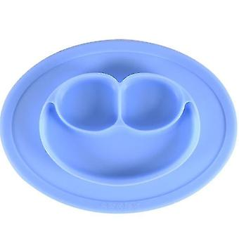Smiley Dinner Plate Baby Children's Dinner Plate Food Grade Silicone Food Supplement(Blue2)
