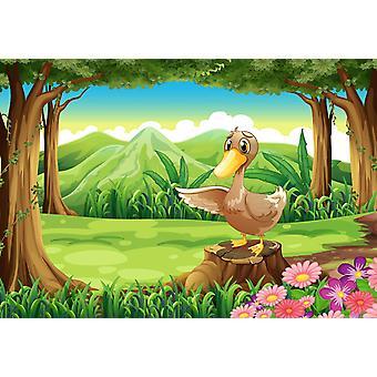 Tapeta Mural Kaczka nad kikutem w lesie