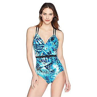 Brand - Coastal Blue Women's Control One Piece Swimsuit, Splash of The Tropics, M
