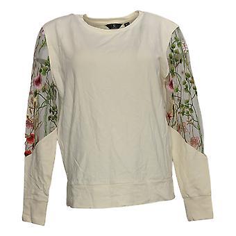 G By Giuliana Women's Jet Set G Sweatshirt Embroidered Sleeves Ivory 628912