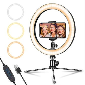 """LED Ring Light 10"""" with Tripod Stand & Phone Holder for Live Streaming & YouTube Video,"""