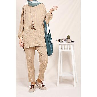 Crew Neck Striped Blouse And Pants Set