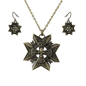 النجمة البرونزية + قلادة فلور دي الدعاوى وتتدلى أقراط تعيين