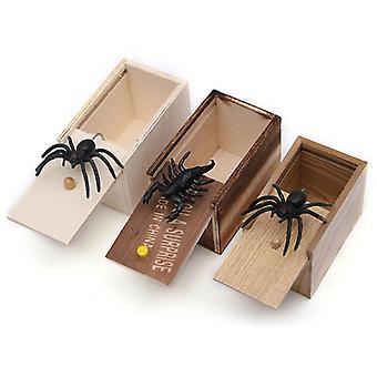 Drôle Scare Box Araignée farce en bois cachée dans le cas Prank-Wooden Scarebox Intéressant Play Trick Joke Toys Cadeau