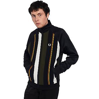 Fred Perry Men's Knitted Stripe Track Cardigan Regular Fit