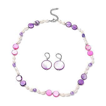 Bead String, Dangle Jewellery Set 20 '' Purple Shell and Pearl Steel, Brass 1ct