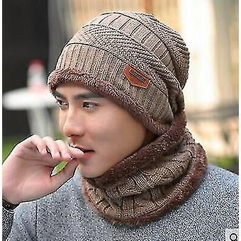 2 Pieces set of unisex knitted ski cap and scarf beanies(One)(Khaki)