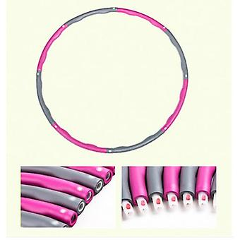 Pink+grey Collapsible Weighted Hula Hoop Fitness Gym Workout Abs Rembourré