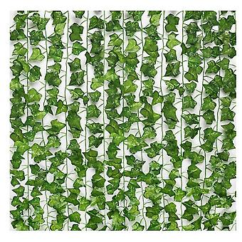 12pcs 2.1m اللبلاب وهمية يترك الكروم وهمية النباتات المعلقة الاصطناعية