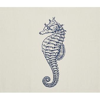 Blue Seahorse Coastal Printed Cotton Kitchen Dish Towel 28 Inches