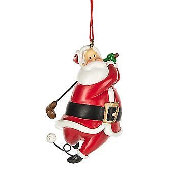 Santa Golfer Christmas Holiday Ornament 3 Inches