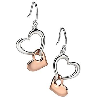 925 Silver Rose Gold Plated Heart Earring