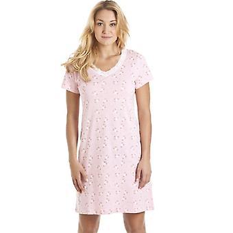 Камиль розовые и белые цветочные печати ночная рубашка