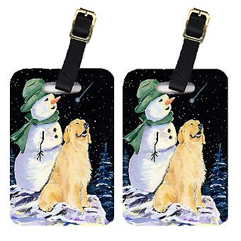 Pair of 2 Golden with Snowman in Green Hat Retriever Luggage Tags
