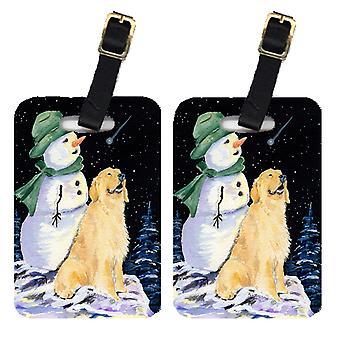 Pari 2 Golden lumiukko vihreä hattu noutaja Matkalaukkujen Tunnisteet