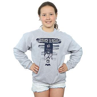 DC Comics Girls Justice League Movie Logo Badges Sweatshirt