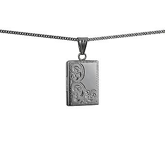 Silver 22x15mm half hand engraved flat rectangular Locket with a curb Chain 18 inches