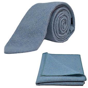 Céu azul Herringbone gravata & conjunto de bolso quadrado