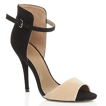 Ajvani kvinnors hög klack stiletto part fotled manschetten rem kontrast två tonar sandaler peep toe skor
