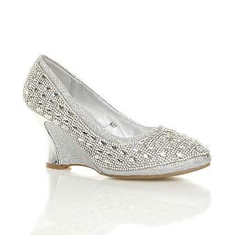 Ajvani naisten puolivälissä kantapää kiila platform diamante iltana morsiamen wedding prom tuomioistuin kengät pumput