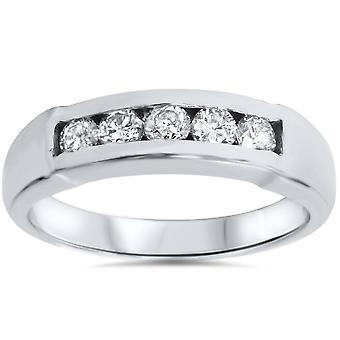 (GH/SI) Certified Mens 1/2ct Diamond Wedding Ring 14k White Gold