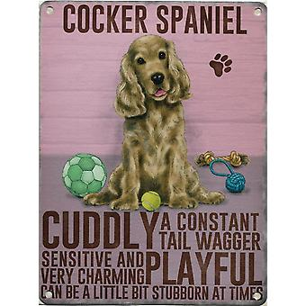 Medium Wall Plaque 200mm x 150mm - Golden Red Cocker Spaniel by The Original Metal Sign Co