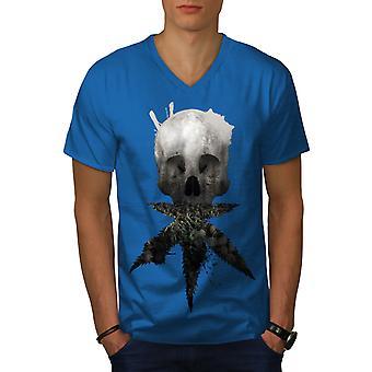 Skull Canabis Pot Men Royal BlueV-Neck T-shirt   Wellcoda