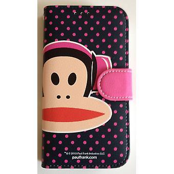 Ursprungliga Paul Frank ® dagbok fall täcka Samsung Galaxy S4 konstläder / LTE med design hörlurar Rosa/svart