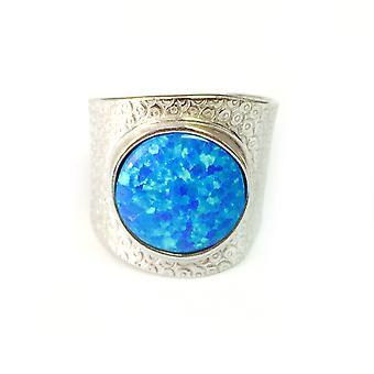 Sterling prata ródio chapeado Anel Opala sintética azul, tamanho 6