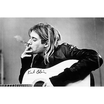 カート ・ コバーンのアコースティック ギター ポスター ポスター印刷を喫煙