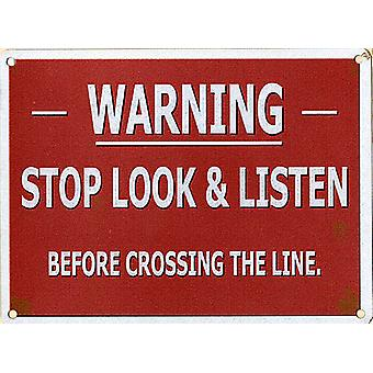 Warning Stop Look Listen Small Metal Sign 200Mm X 150Mm