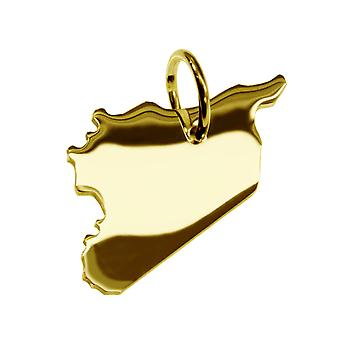 Trailer map Syria pendants in massive 585 gold