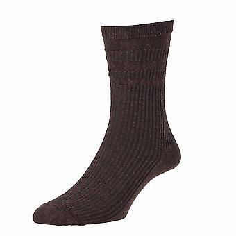 3 Pair Pk Hj Hall Hj90 Wool Rich Softop Loose Top Non Elastic Socks 4-7 Brown
