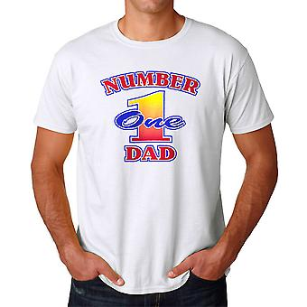 Number One Dad Graphic Men's White T-shirt
