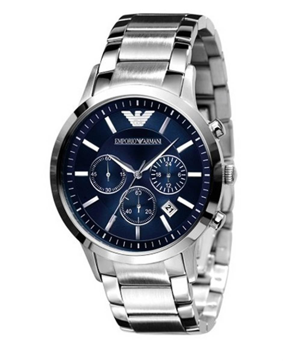 Emporio Armani Mens' Chronograph Watch - AR2448 - blauw/staal