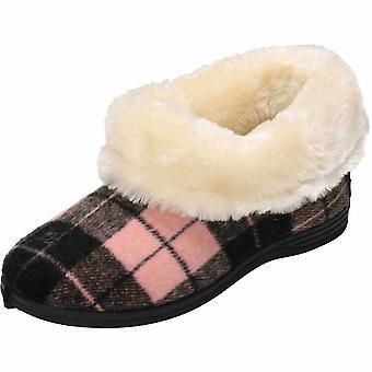 Cushion-Walk Beige/Brown Slip On Ankle Bootee Slipper House Shoe