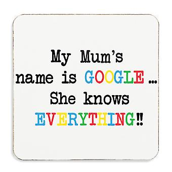 Mijn moeders naam Is Google ze weet alles Cork Coaster