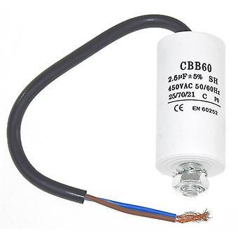 Universal 2.5UF kondensaattori 22 cm kaapeli liittimineen