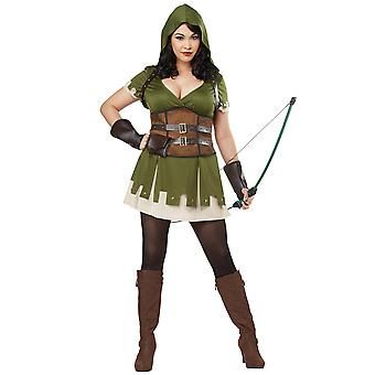 Lady Robin Hood medeltida Sherwood Archer tjuvar krigare Womens kostym Plus