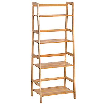 HOMCOM 4-Tier Bamboo Ladder Bookcase Storage Unit Shelf DIY Plant Shelving Stand Holder Bathroom, Kitchen, Balcony, Study, Living Room Display Organiser
