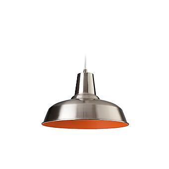 Firstlight - 1 Light Ceiling Pendant Brushed Steel, Orange Inside - 8623BSOR