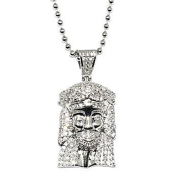 Silver Plated CZ Micro Jesus Piece With 30 Inch Ball Chain