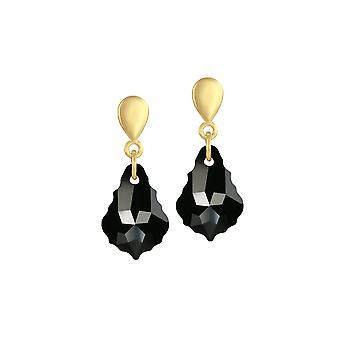 Ewige Sammlung Barock Jet Schwarz österreichischen Kristall Gold Ton Tropfen Ohrhänger