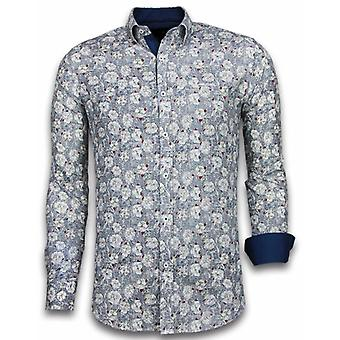 E Shirts - Slim Fit - Drawn Flower Pattern - Blue